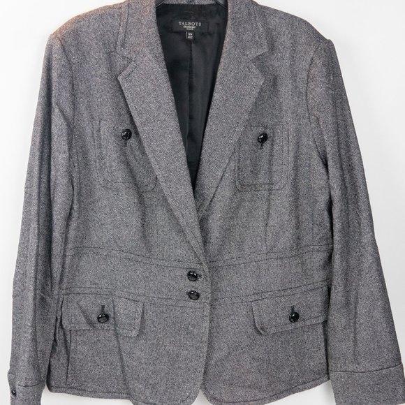 Like New Talbots Woman Gray Tweed Blazer Size 12W